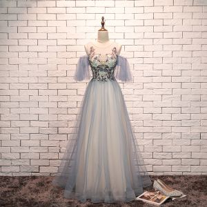 Elegant Sky Blue Evening Dresses  2019 A-Line / Princess Scoop Neck Beading Lace Flower Short Sleeve Backless Floor-Length / Long Formal Dresses