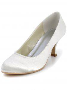 White Minimalist Round Of Party Shoes With Satin Wedding Shoes