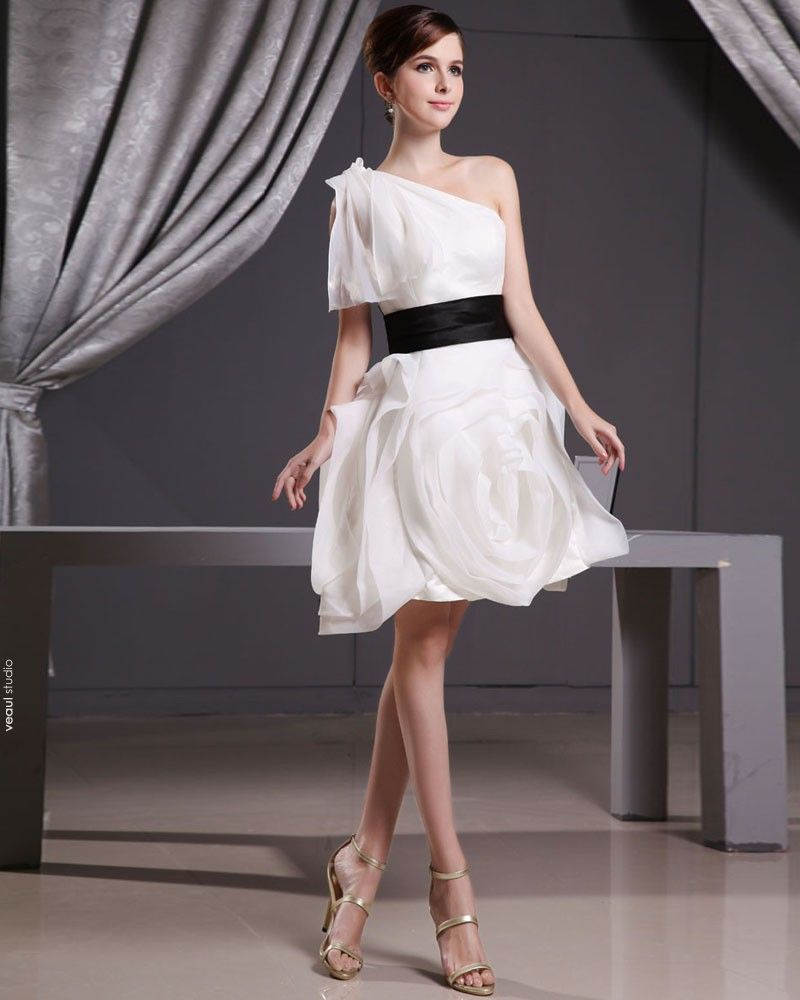 Organza Satin Sloping Ruffle Thigh Length Mini short Wedding Dress