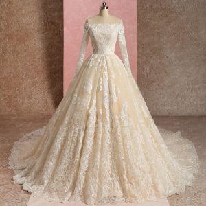 Elegante Champagner Brautkleider / Hochzeitskleider 2019 Ballkleid Off Shoulder Spitze Blumen Lange Ärmel Rückenfreies Kathedrale Schleppe
