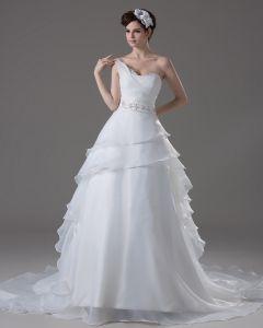 Cherie Longueur De Plancher Volants Perles Fil Plisse D'une Robe De Mariée En Ligne