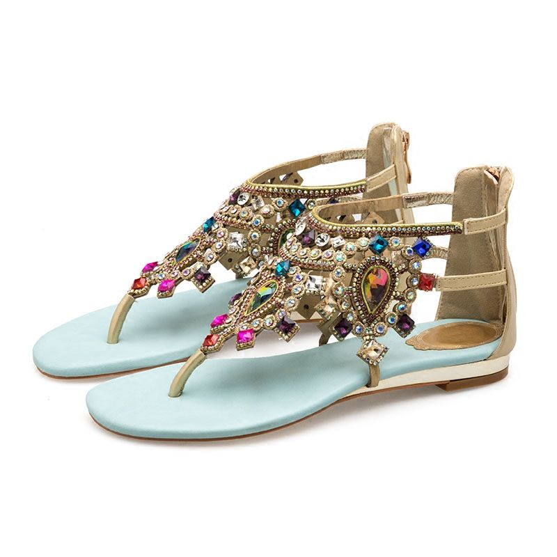 df6bd37a4c Bohemia Sky Blue Womens Sandals 2018 Beach Crystal Rhinestone Flat ...