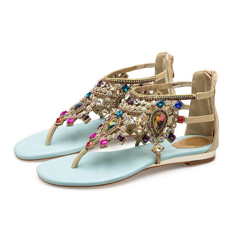 Bohemia Sky Blue Womens Sandals 2018 Beach Crystal Rhinestone Flat Sandals
