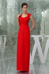 2015 Elegant Empire Shoulders Pleated Floor Length Red Evening Dress