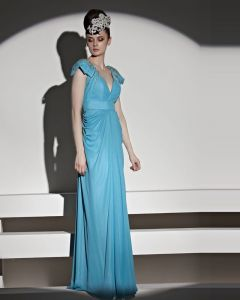 Elegant Beading Floor Length V Neck Tulle Charmeuse Evening Dress