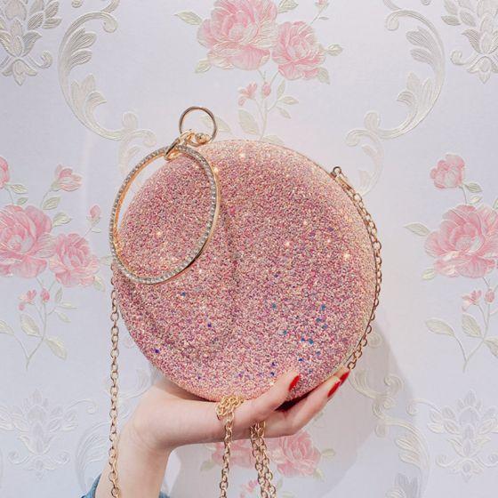 Schöne Pink Glanz Runde Clutch Tasche 2020