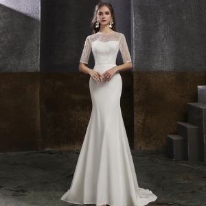 Eleganckie Białe Satyna Sukienki Wieczorowe 2020 Syrena / Rozkloszowane Przezroczyste Wycięciem 1/2 Rękawy Frezowanie Perła Cekiny Trenem Sweep Sukienki Wizytowe