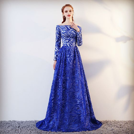 Chic / Beautiful Royal Blue Evening Dresses  2017 A-Line / Princess Lace Beading Off-The-Shoulder Backless Long Sleeve Sweep Train Formal Dresses