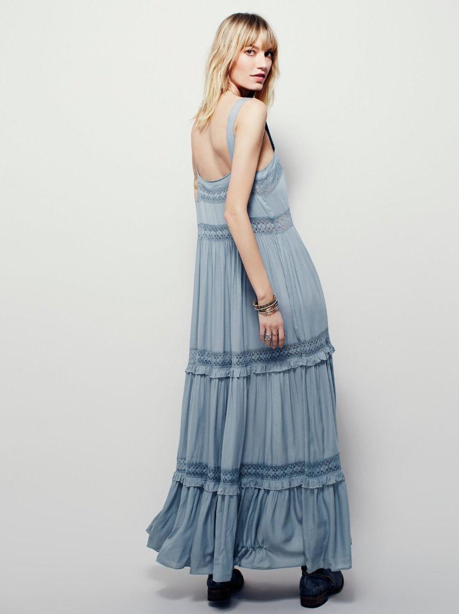 Eenvoudige Hemelsblauw Toevallig Maxi-jurken 2019 Ruche Spaghettibandjes Mouwloos Ruglooze Enkellange Dameskleding