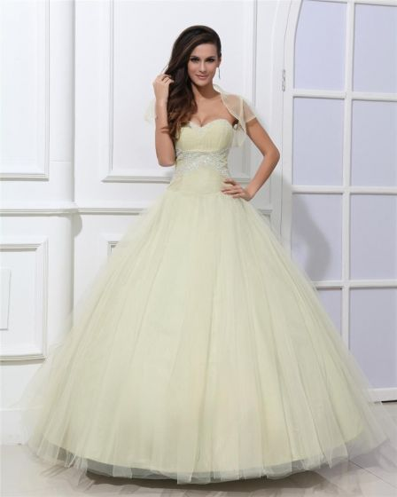 c7347a043 Vestido De Bola Hermoso Una Línea De Vestidos De Gala Corazón Sin Tirantes  Con Cuentas De Tul Quinceañera