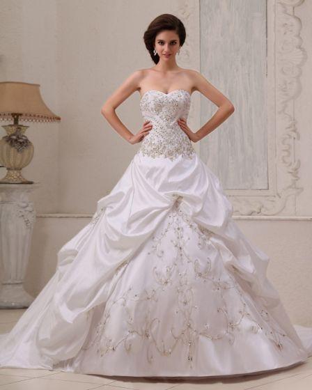 Snygg Satin Beading Rufsar Alskling Balklänning A-line Brudklänningar Bröllopsklänningar