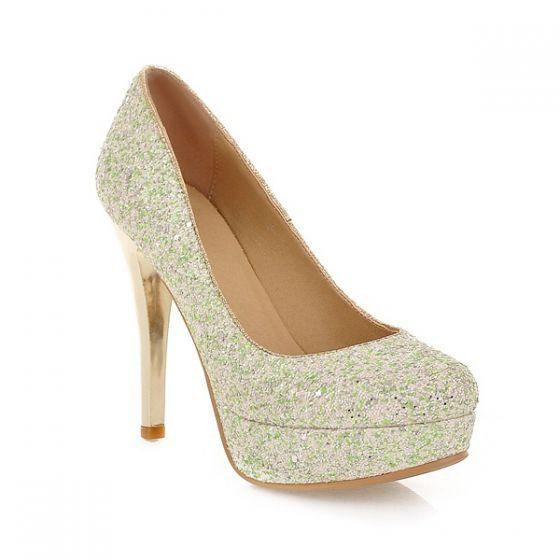 Sexy Sparkly Pumps Womens High Heels Green Glitter Stiletto Heel Shoes