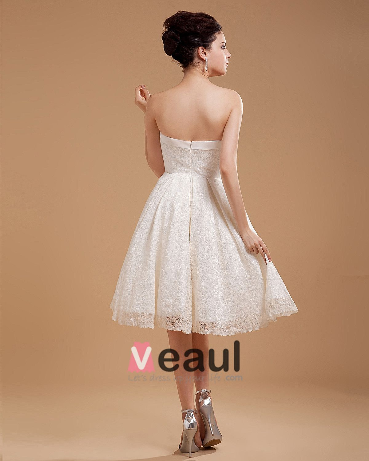 Lace Embroidery Short Bridal Gown Wedding Dress