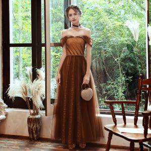 Chic / Belle Marron Robe De Soirée 2020 Princesse De l'épaule Manches Courtes Perlage Ceinture Tachetée Tulle Longue Volants Dos Nu Robe De Ceremonie
