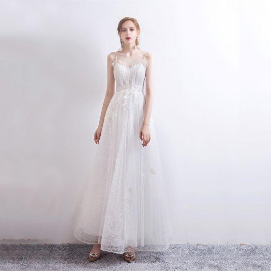 Elegante Weiß Tanzen Ballkleider 2021 A Linie Spaghettiträger Ärmellos Applikationen Spitze Knöchellänge Rüschen Rückenfreies Festliche Kleider