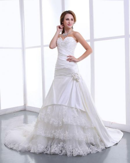 Ruffles Yarn Satin Lace Applique Flowers Sweetheart Cathedral Train Mermaid Wedding Dress