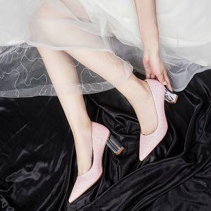 Romantique Charmant Rougissant Rose Chaussure De Mariée 2020 7 cm Perlage Paillettes À Bout Pointu Cocktail Soirée Mariage Chaussures Femmes