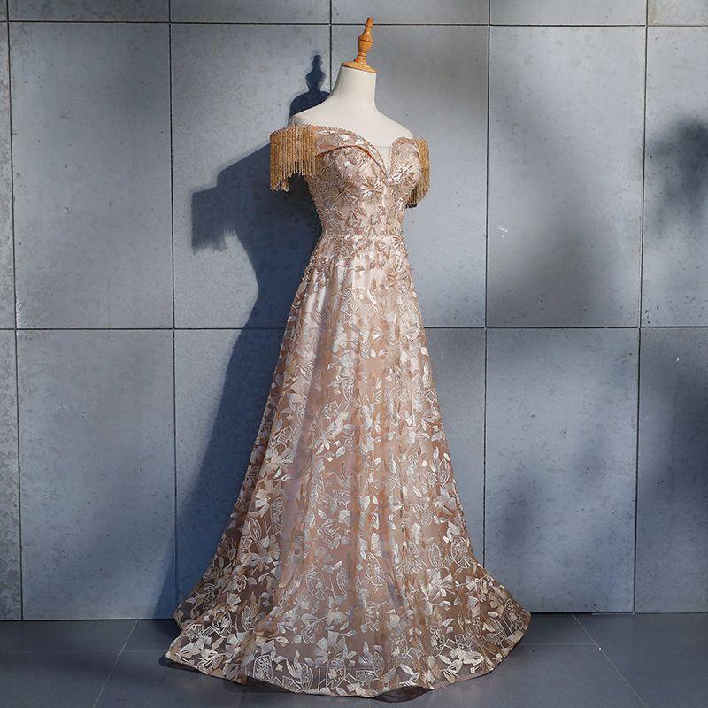 Elegante Champagner Abendkleider 2019 A Linie Off Shoulder Perlenstickerei Quaste Kurze Ärmel Spitze Blumen Kristall Rückenfreies Lange Festliche Kleider