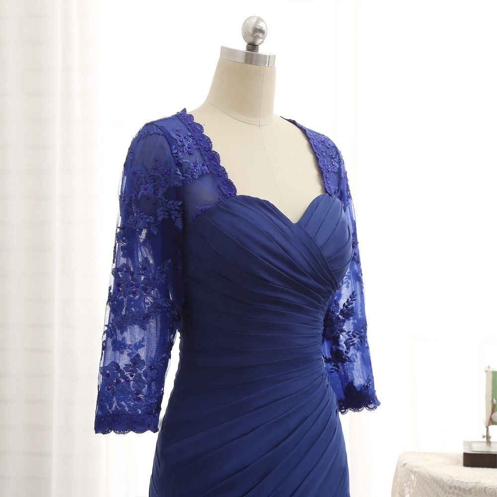Vintage / Retro Royal Blue Mother Of The Bride Dresses 2019 Lace Chiffon V-Neck Appliques Beading Embroidered Rhinestone Sweep Train Church Trumpet / Mermaid Wedding Party Dresses