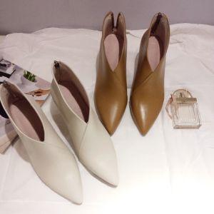 Enkel Aprikos Casual Kvinners støvler 2019 Lær 7 cm Stiletthæler Spisse Boots