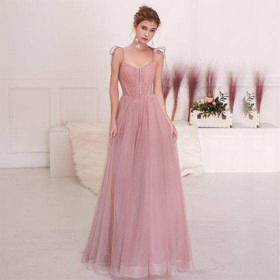 Piękne Rumieniąc Różowy Sukienki Wieczorowe 2019 Princessa Spaghetti Pasy Kokarda Frezowanie Cekiny Bez Rękawów Bez Pleców Długie Sukienki Wizytowe
