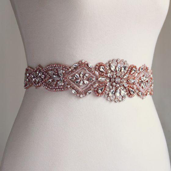 Flotte Rose Guld Galla Skærf  2020 Satin Metal Håndlavet Beading Krystal Perle Rhinestone Selskabs Accessories