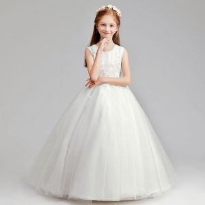 Chic / Beautiful Ivory Flower Girl Dresses 2019 A-Line / Princess Scoop Neck Sleeveless Appliques Lace Pearl Floor-Length / Long Ruffle Wedding Party Dresses