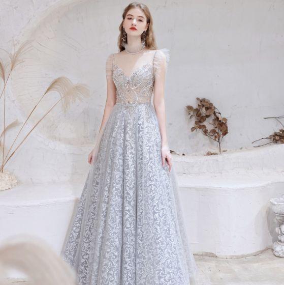 Sexy Argenté Robe De Bal 2021 Princesse Col Haut Perlage Faux Diamant En Dentelle Fleur Sans Manches Dos Nu Longue Robe De Ceremonie