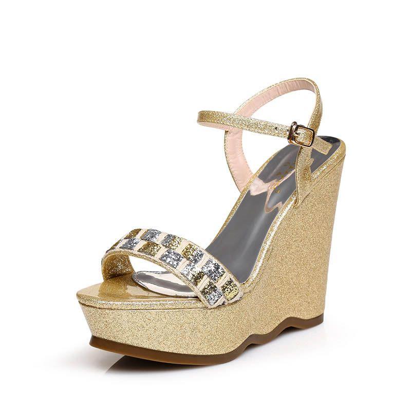 Sparkly Outdoor / Garden Womens Sandals 2017 Sequins PU