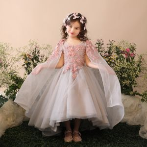 Chic / Beautiful Church Wedding Party Dresses 2017 Flower Girl Dresses Grey Ball Gown Asymmetrical Detachable Scoop Neck Sleeveless Flower Appliques Beading Pearl Sequins
