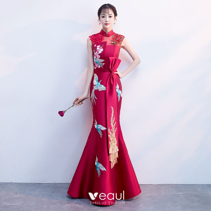 fbf35606e3 Chinese style Burgundy Satin See-through Evening Dresses 2019 ...