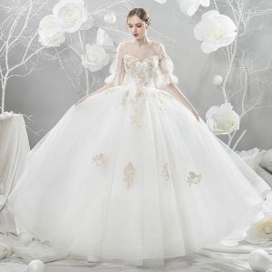 Affordable White See-through Wedding Dresses 2018 A-Line / Princess Scoop Neck Short Sleeve Backless Gold Appliques Lace Beading Ruffle Cathedral Train