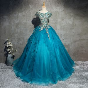 Classic Elegant Pool Blue Prom Dresses 2017 A-Line / Princess Lace Tulle U-Neck Appliques Beading Evening Party Formal Dresses