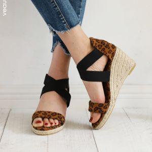 Chic / Beautiful Brown Street Wear Leopard Print Womens Sandals 2020 8 cm Wedges Open / Peep Toe Sandals