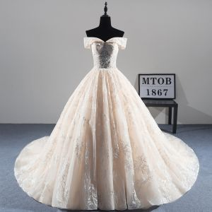 Best Champagne Wedding Dresses 2019 A-Line / Princess Off-The-Shoulder Short Sleeve Backless Appliques Lace Beading Cathedral Train Ruffle