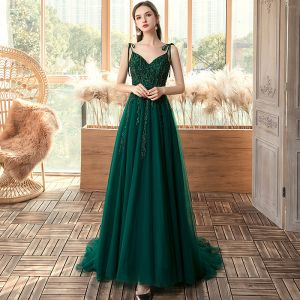 Affordable Dark Green Evening Dresses  2020 A-Line / Princess Spaghetti Straps Sleeveless Appliques Lace Beading Sweep Train Backless Formal Dresses