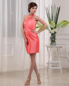 Taft Halfter Sleeveless rückenfrei Reißverschluss-miniCocktail Partykleid
