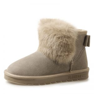 Modern / Fashion Womens Boots 2017 Khaki Leather Ankle Suede Casual Winter Flat Snow Boots