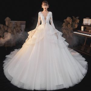 Illusion Champagne Bridal Wedding Dresses 2020 Ball Gown See-through Deep V-Neck Long Sleeve Backless Appliques Lace Beading Bow Sash Glitter Tulle Cathedral Train Ruffle