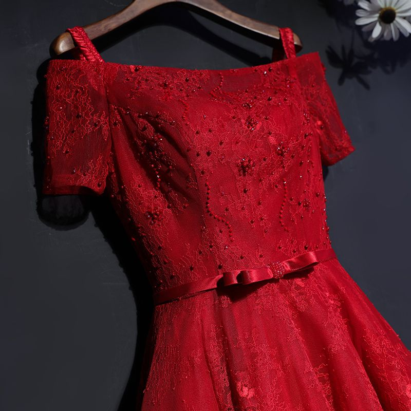 Chic / Beautiful Red Formal Dresses Evening Dresses  2017 Lace Flower Bow Sequins Square Neckline Short Sleeve Ankle Length A-Line / Princess