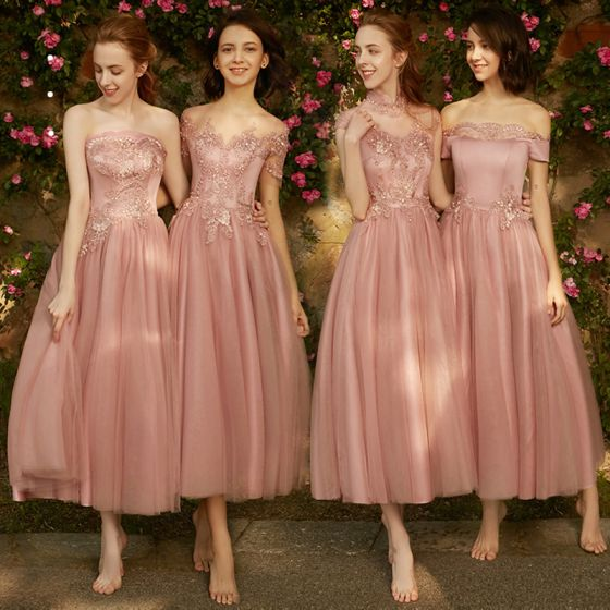 Chic / Beautiful Pearl Pink Bridesmaid Dresses 2018 A-Line / Princess Appliques Pierced Lace Ankle Length Ruffle Wedding Party Dresses