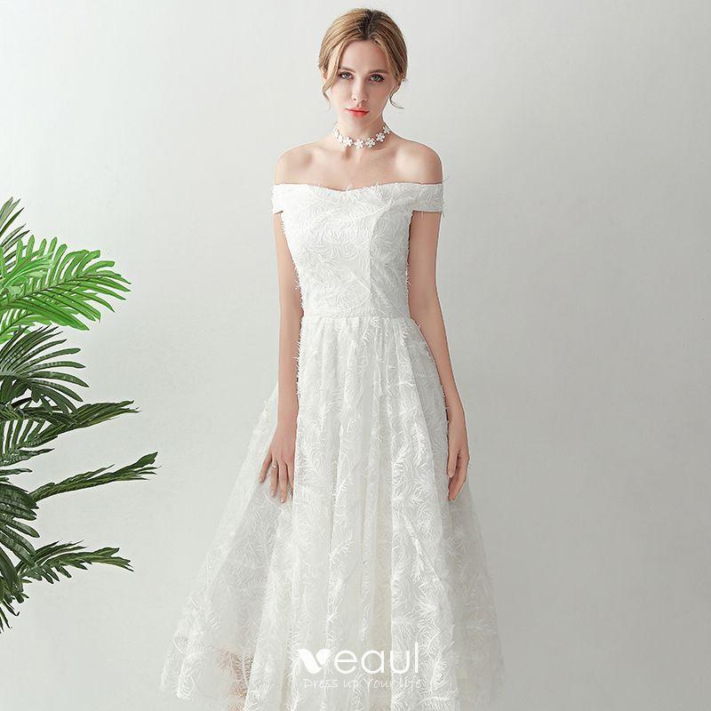 Amazing / Unique White Tea-length Evening Dresses  2018 A-Line / Princess Tulle Braid Ankle Strap Strapless Evening Party Formal Dresses