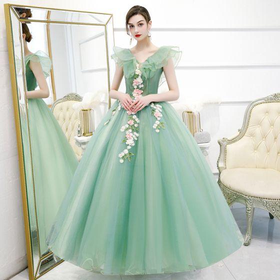 Hada de las flores Verde Lima Vestidos de gala 2020 Ball Gown V-Cuello Sin Mangas Apliques Flor Rebordear Perla Largos Ruffle Sin Espalda Vestidos Formales