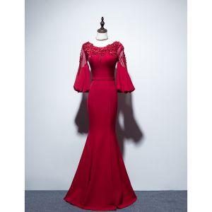 Piękne Burgund Sukienki Wieczorowe 2019 Syrena / Rozkloszowane Wycięciem Frezowanie Cekiny Z Koronki Kwiat Aplikacje 3/4 Rękawy Bez Pleców Długie Sukienki Wizytowe