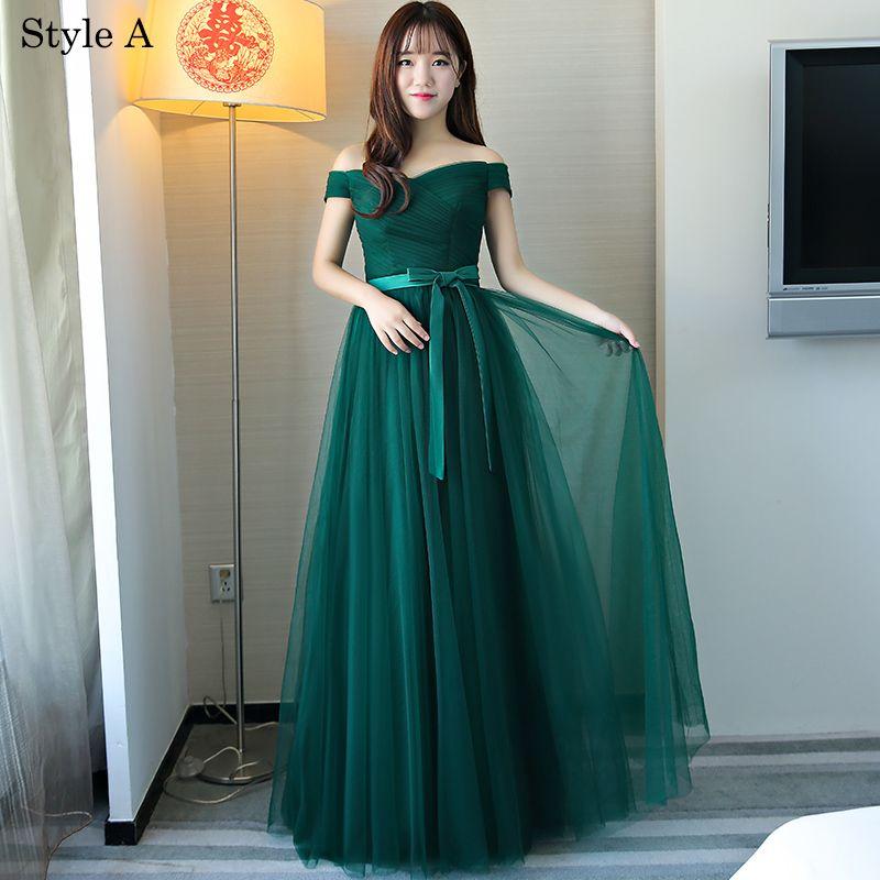 Proste / Simple Ciemnozielony Sukienki Dla Druhen 2018 Princessa Kokarda Bez Rękawów Bez Pleców Długie Sukienki Na Wesele