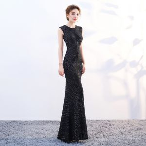 Sparkly Bling Bling Floor-Length / Long Black Evening Dresses  2018 Trumpet / Mermaid U-Neck Zipper Up Beading Sequins Evening Party Formal Dresses