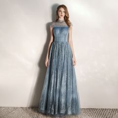 Chic / Beautiful Ink Blue See-through Evening Dresses  2020 A-Line / Princess High Neck Sleeveless Beading Glitter Tulle Floor-Length / Long Ruffle Backless Formal Dresses