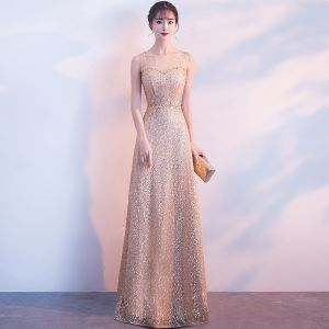 Chic / Beautiful Gold Evening Dresses  2017 A-Line / Princess U-Neck Tulle Beading Glitter Sequins Evening Party Formal Dresses
