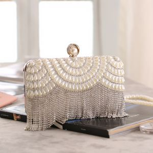 Fashion Silver Patent Leather Rhinestone Tassel Clutch Bags 2020 Metal Pearl Evening Party Accessories