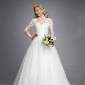Luxury / Gorgeous White Wedding Dresses 2020 A-Line / Princess High Neck Long Sleeve 3D Lace Zipper Up Appliques Backless Beading Crystal Chapel Train Wedding